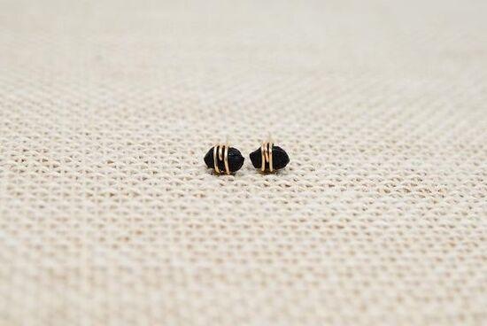 Raw Tourmaline Studs Raw black tourmaline Earrings Sterling | Etsy