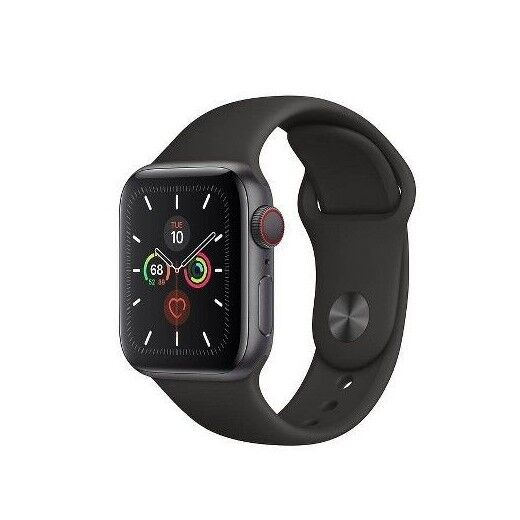 Apple Watch Series 5 GPS + Cellular, 40mm Space Gray Aluminum Case with Black Sport Band