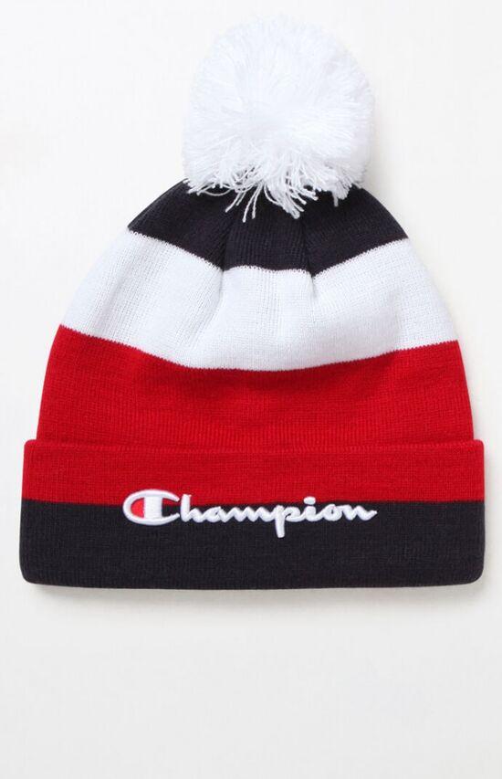 Champion Script Stripe Knit Beanie