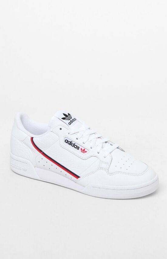adidas White & Red Continental 80 Shoes