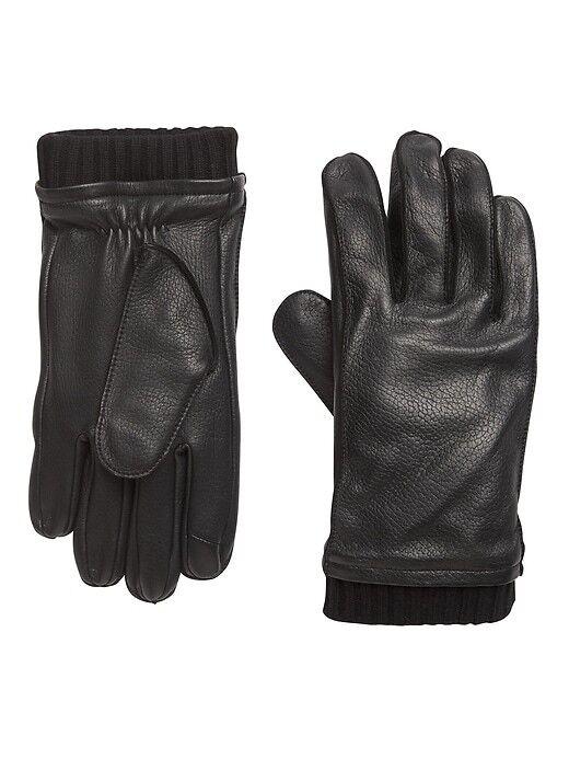 Leather Knit-Cuff Glove