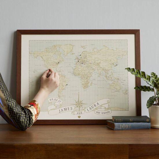 Personalized Anniversary Pushpin World Map | Travel Art