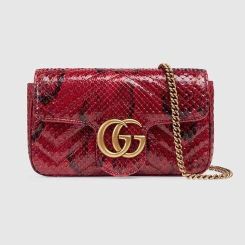 Gucci GG Marmont python super mini bag