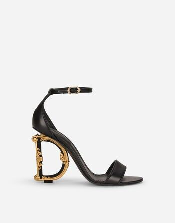 Women's Sandals and Wedges   Dolce&Gabbana - Nappa leather sandals with baroque DG heel