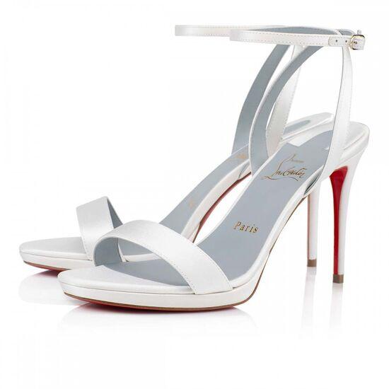 LOUBI QUEEN  100 WHITE CREPE SATIN/SATIN/LUREX - Women Shoes - Christian Louboutin
