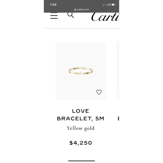 LOVE bracelet, SM: LOVE bracelet, small model, 18K yellow gold. Sold with a screwdriver. Width: 3.65mm.