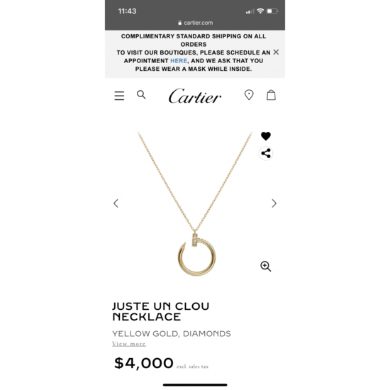 Juste un Clou necklace: Juste un Clou necklace, 18K yellow gold, set with 14 brilliant-cut diamonds totaling 0.12 carat.