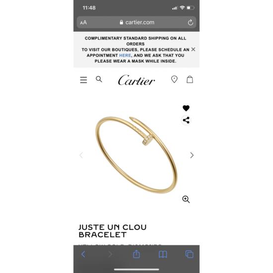 Juste un Clou bracelet: Juste un Clou bracelet, 18K yellow gold, set with 20 brilliant-cut diamonds totaling 0.18 carat.