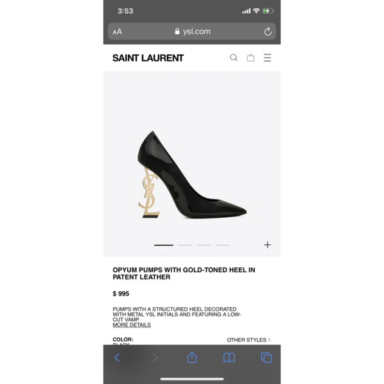 OPYUM Pumps with gold-toned heel in patent leather   Saint Laurent __locale_country__   YSL.com