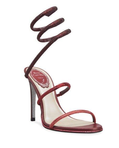 Rene Caovilla Snake Strass Stiletto Sandals