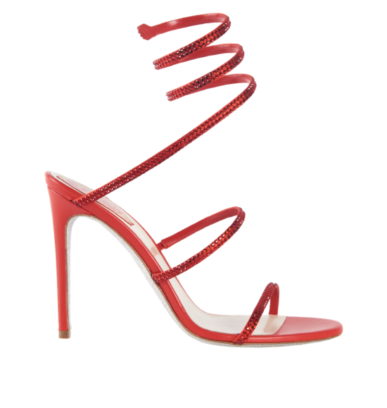 Red satin sandals CLEO