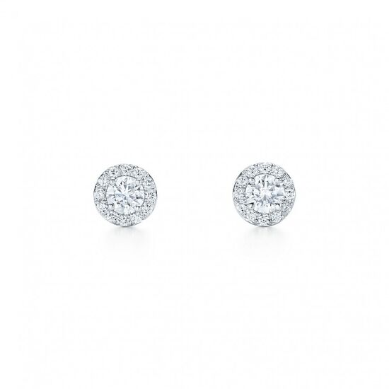 Tiffany Soleste® earrings in platinum with diamonds.   Tiffany & Co.