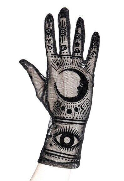 "Gothic mesh gloves Moon pattern, zodiac signs ""FORTUNE TELLER GLOVES"""